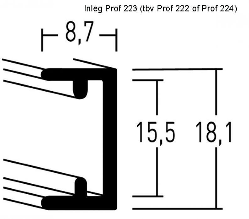 Aluminium lijsten- Nielsen Serie 223( inleg voor profiel 222 en 224)