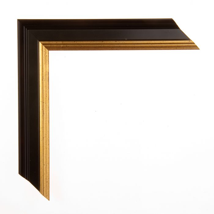 Houten lijst -  ACADEMIE - Black with gold 31 mm