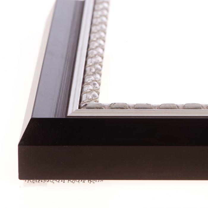 Houten lijst - - ART DECO - Zwart, zilver biesl breed 31 mm