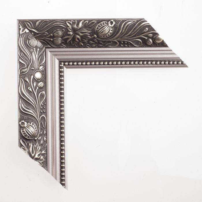 Houten lijst -  DAHLIA - Zilver ornament breed 60 mm
