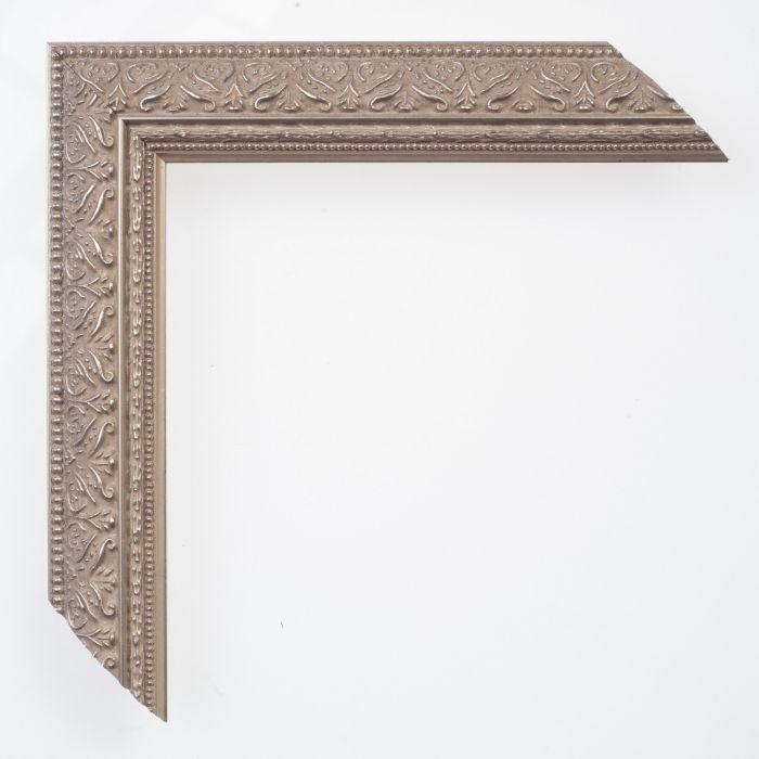 Houten lijst -  IMPERIAL - Ornament zilver smal 34 mm