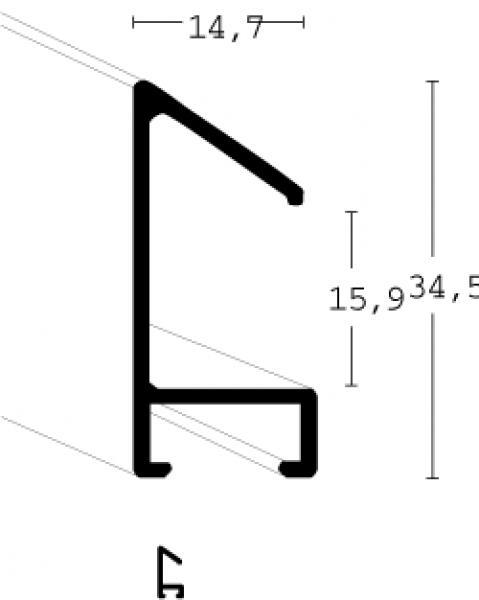 Aluminium lijst - NIELSEN - Profiel 51 - Mat Mercury  51-017