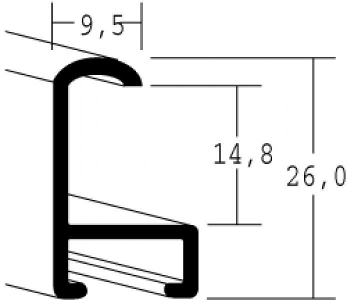 Aluminium lijst - NIELSEN - Profiel 15 - Walnoot Structuur 15-318