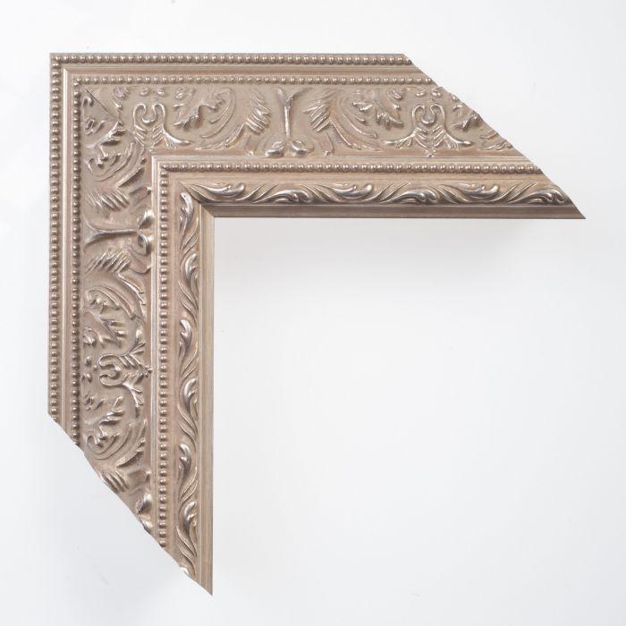 Houten lijst -  - IMPERIAL - Ornament zilver breed 72 mm