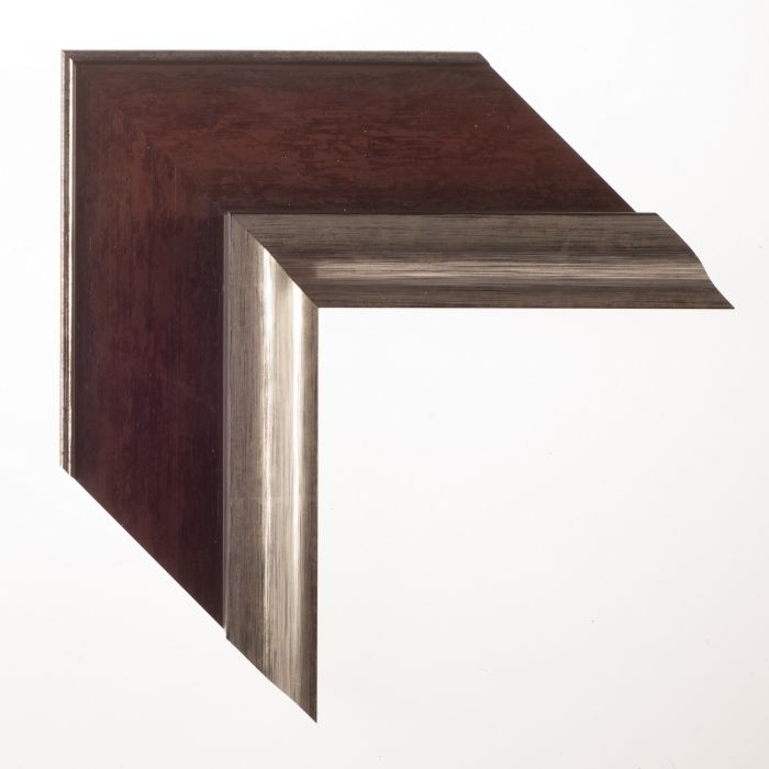 Houten lijst -  LUCERNE - Roodbruin zilver breed 93 mm