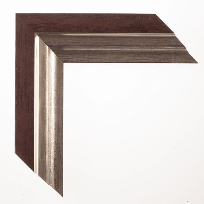 Houten lijst -  - LUCERNE - Roodbruin zilver breed 52 mm