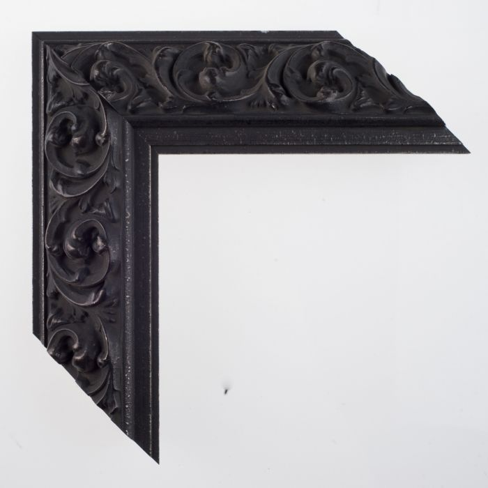 Houten lijst - SOFIA - Reverse ornament iron black breed 63 mm