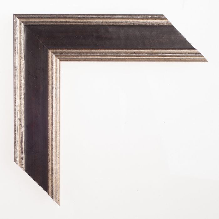Houten lijst -- TRADITION - Zwart zilverbreed 48 mm