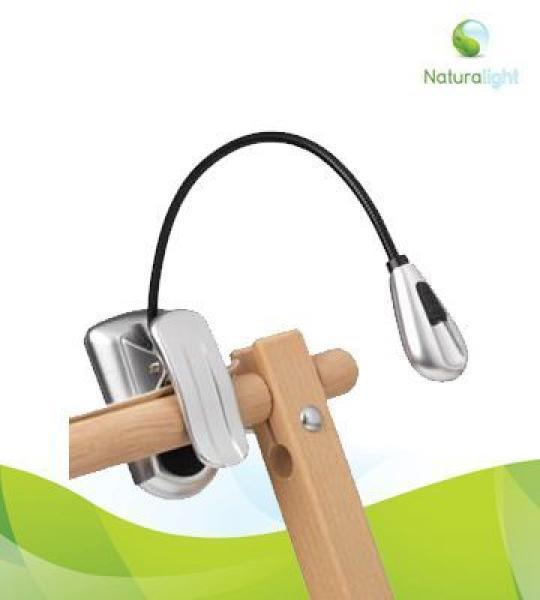 Natura LED Clip-on Lamp satijn zilver LED Klemlamp