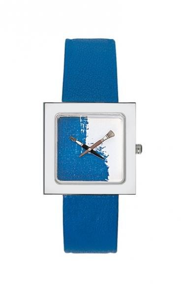 Akteo horloge blauwe verf kubik lady - Kleur blauwe verf ...