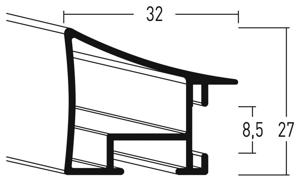 Aluminium lijst - NIELSEN - Profiel 225 - Brushed Rubyred  225-209