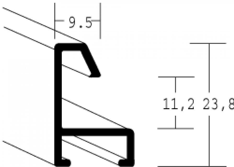 Aluminium lijst - NIELSEN - Profiel 23 - Mat Zwart 23-021