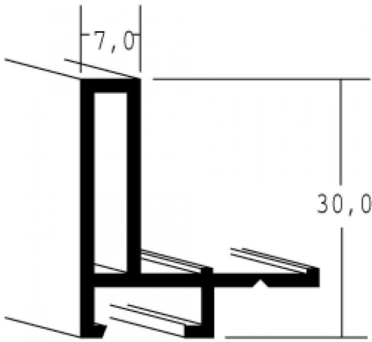 Aluminum baklijst- NIELSEN - Profiel 26 - Mat Zwart/Zilver 26-282