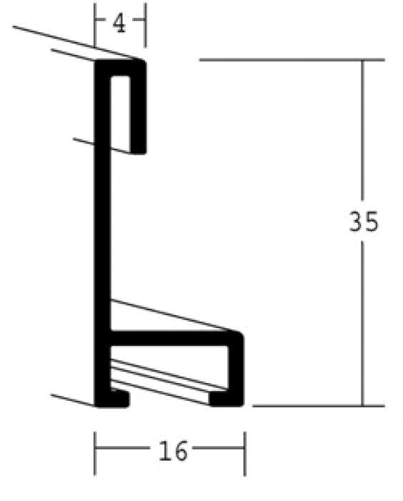 Aluminium lijst - NIELSEN - Profiel 34 - Mat mercury breed 16 mm 34-017
