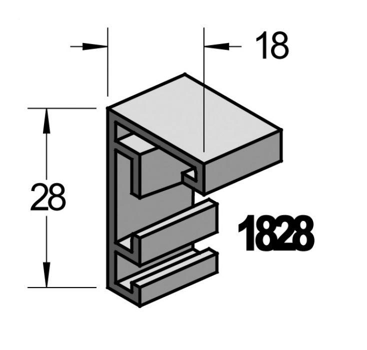 Barth aluminium wissellijst 1828 geschuurd middel brons