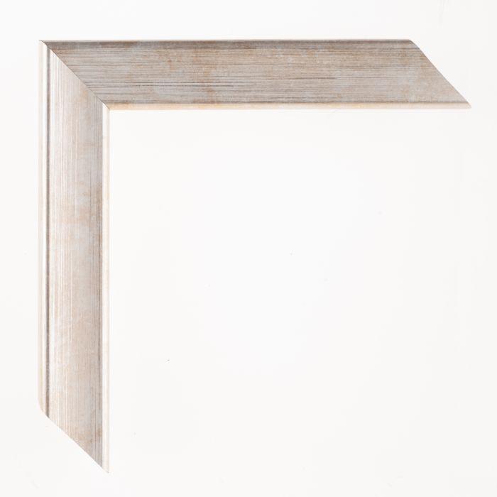 Houten lijst - Aicham - JOY - Wit op zilver breed 30 mm