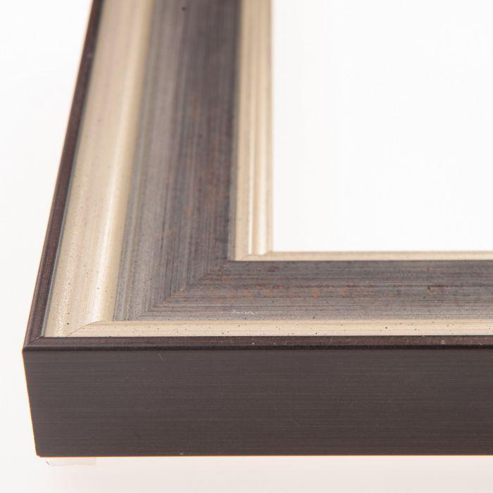 Houten lijst - Aicham - MAESTRO - Antiek zilver - blauw breed 45 mm