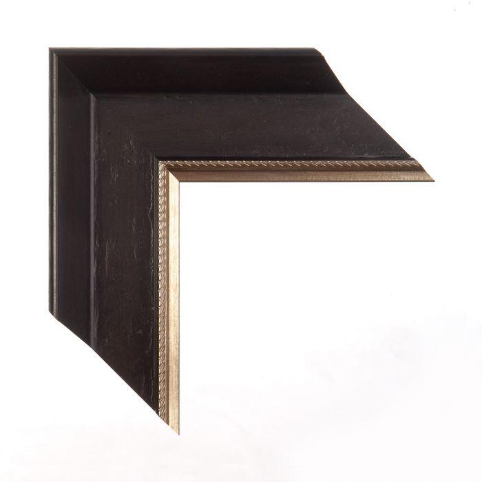 Houten lijst -  DRESDEN - Zwartbruin met platina bies breed 76 mm
