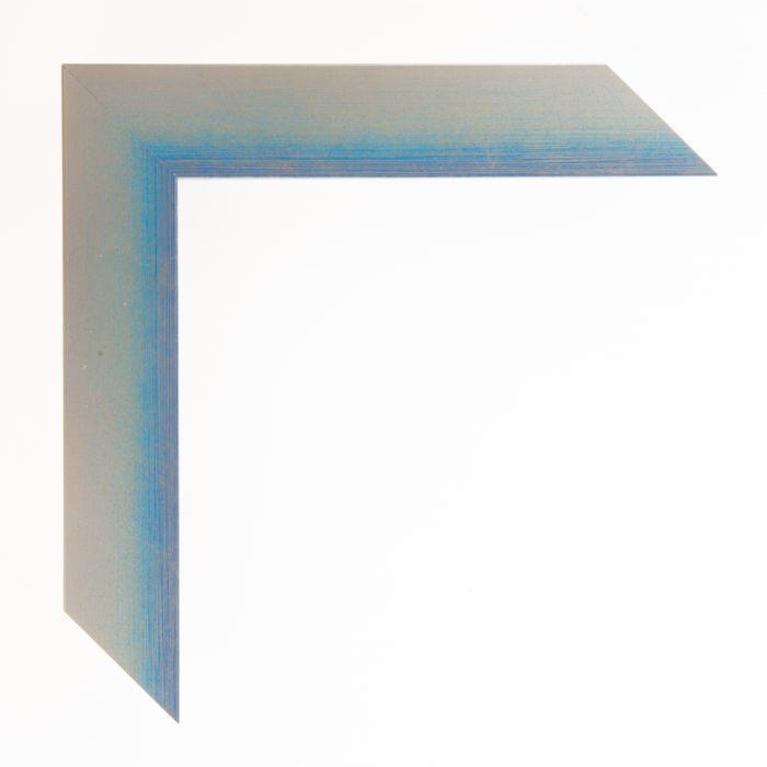 Houten lijst  - Aicham - MAGIC - Blauw op zilver geschuurd breed 32 mm