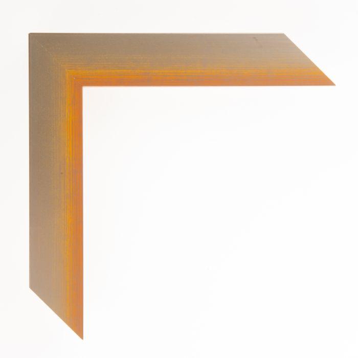 Houten lijst  - Aicham - MAGIC - Oranje op zilver geschuurd breed 32 mm