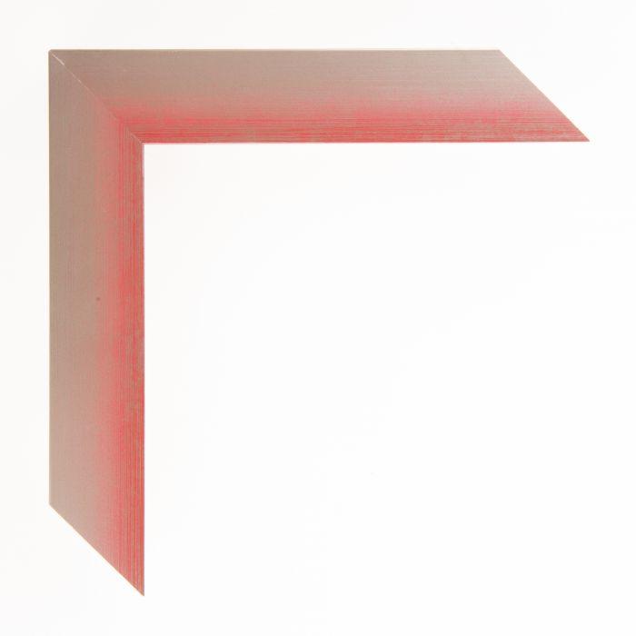 Houten lijst  - Aicham - MAGIC - Rood op zilver geschuurd breed 32 mm