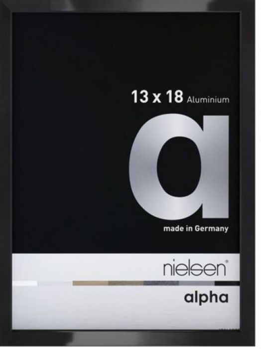 Aluminium wissellijst Alpha True Color Zwart Hgl.