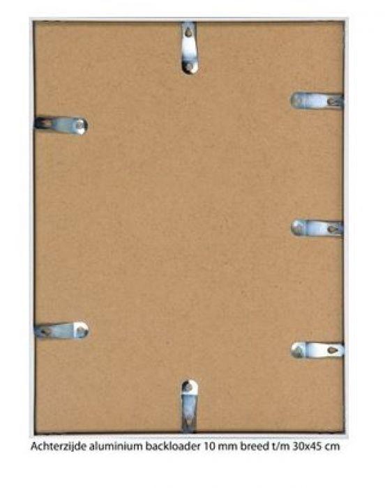ALUMINIUM WISSELLIJST M125 MAT BRONS 1  facetrandje  (helder glas)