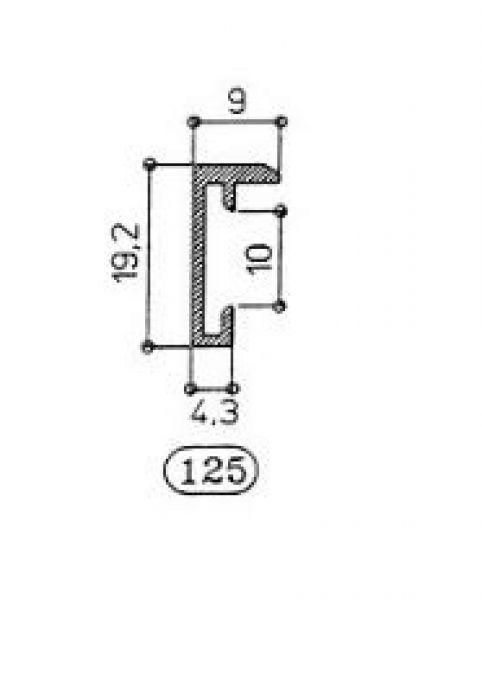 ALUMINIUM WISSELLIJST M125 MAT GOUD  facetrandje (helder glas)