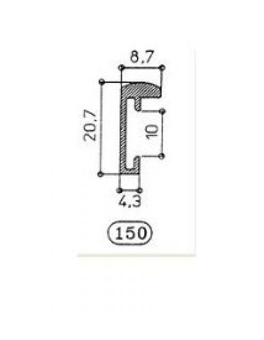 ALUMINIUM WISSELLIJST M150 MAT GOUD half rond (helder glas)