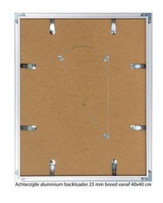 ALUMINIUM WISSELLIJST M62 MAT GOUD rand 23 mm (helder glas)