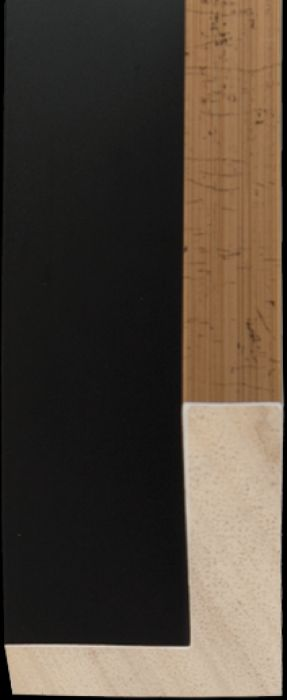 Houten baklijst 3 D Zwart met goud