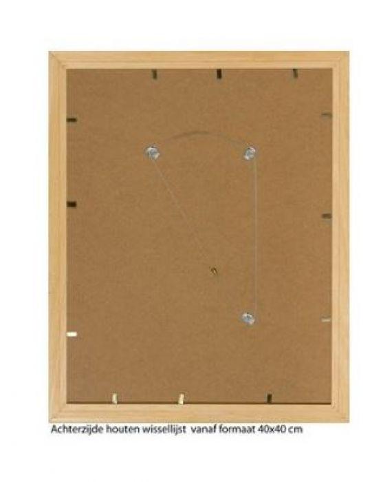 HOUTEN WISSELLIJST M240 (3D) BLANK ONGELAKT  (helder glas)