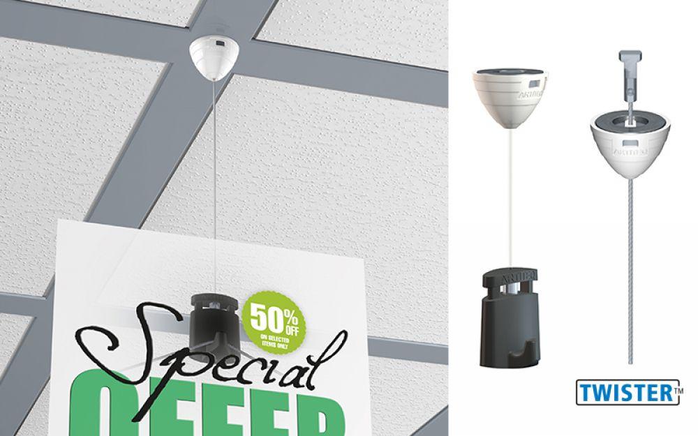 magnetische plafondhanger +twister1 mm perlon+microgrip 1 mm
