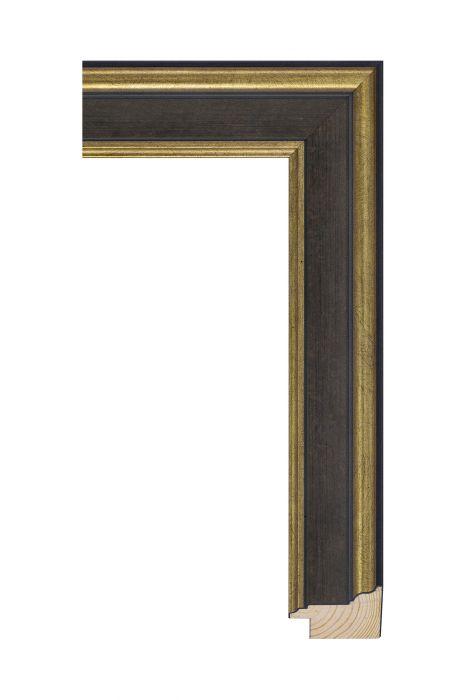 Beschrijving: Houten lijst - MAESTRO - Antiek goud zwart/donkerbruin 45 mm breed
