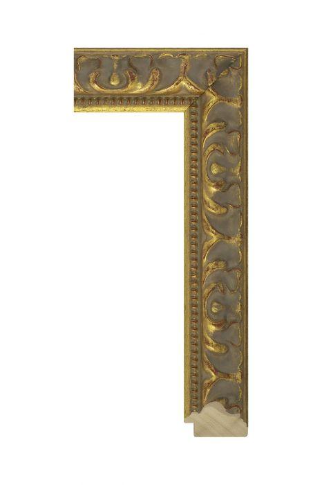 Beschrijving: Houten lijst - MEDICI - Goud, antiek 48 mm breed