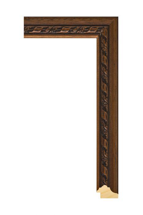 Houten lijst - ANTIKO - Bruin met ornament 34 mm breed