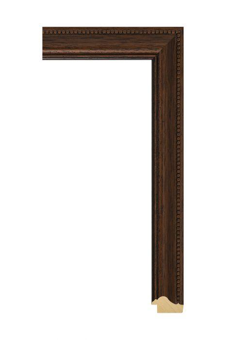 Houten lijst - ANTIKO - Bruin met parels 32 mm breed