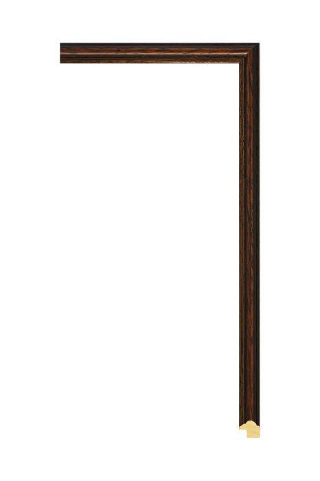 Houten lijst - ANTIKO - Bruin met zwart 15 mm breed