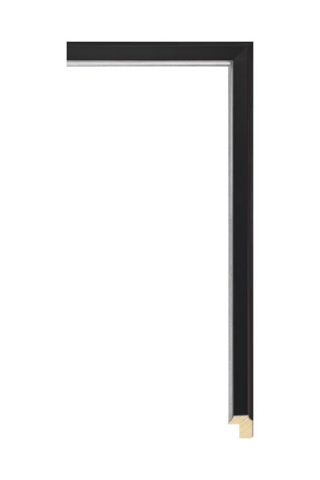 Houten lijst - APART III - Zwart zilver bies 16 mm breed