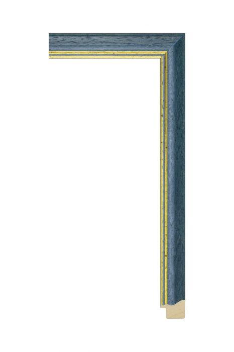 Houten lijst - AURA - Blauw met gouden bies 25 mm breed