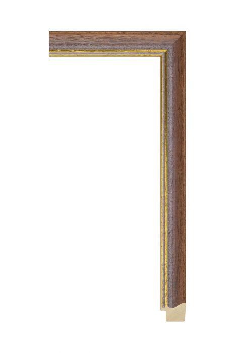 Houten lijst - AURA - Bruin met gouden bies 25 mm breed