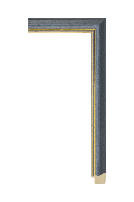 Houten lijst - AURA - Grijs met gouden bies 25 mm breed