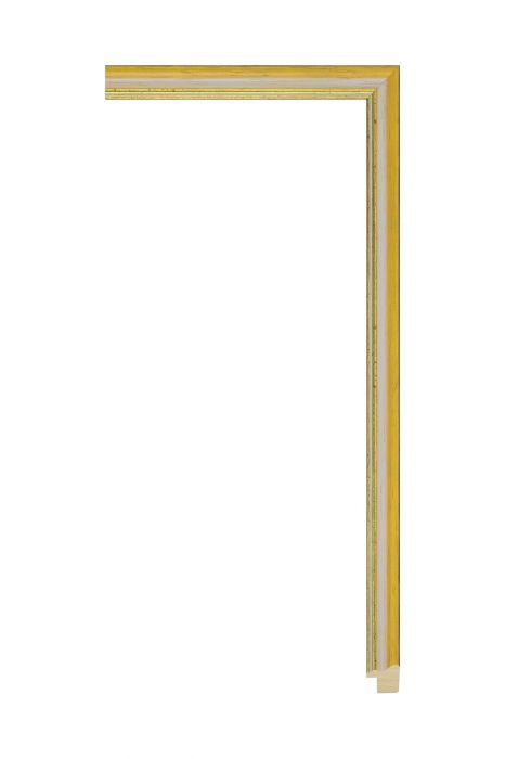 Houten lijst - AURA - Oranje met gouden bies 15 mm breed