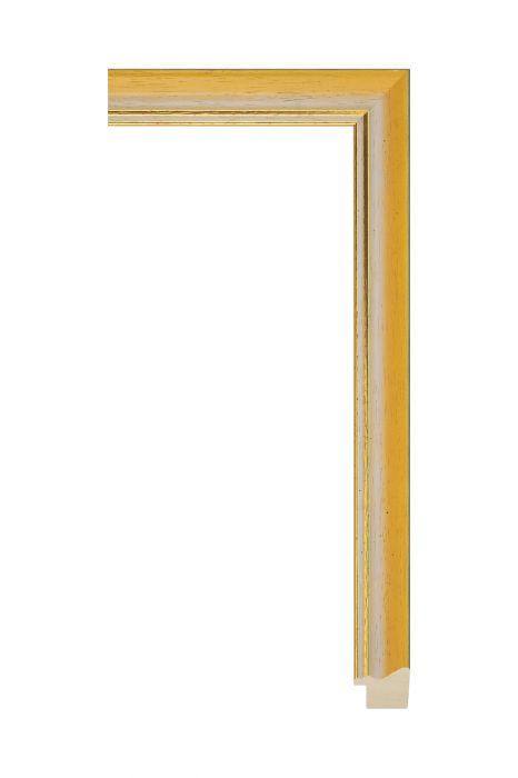 Houten lijst - AURA - Oranje met gouden bies 25 mm breed