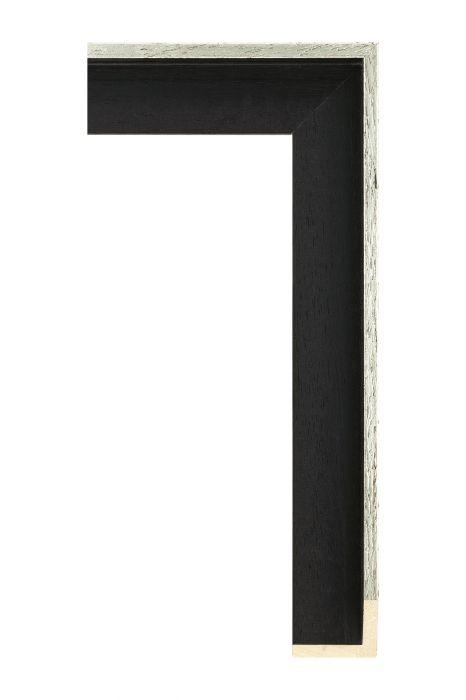 Houten lijst - AVANT I - Witgoud op zwart baklijst 40 mm breed