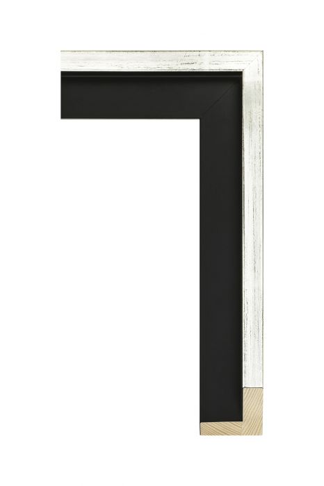 Houten lijst - AVANT II - Witgoud op zwart baklijst 46 mm breed