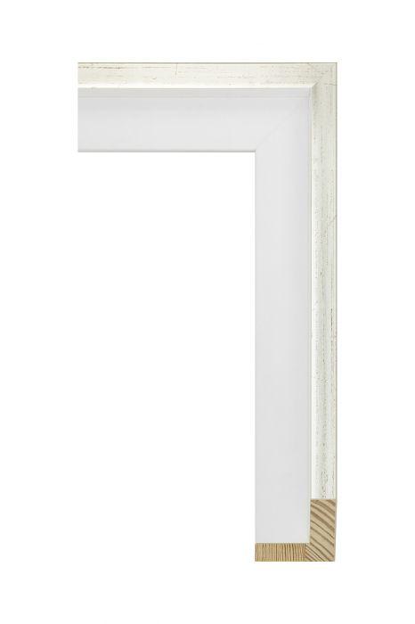 Houten lijst - AVANT II - Witgoud wit baklijst 46 mm breed