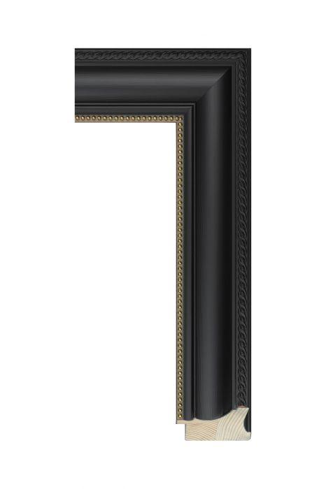 Houten lijst - BILLIARD - Zwart, parelrand 58 mm breed