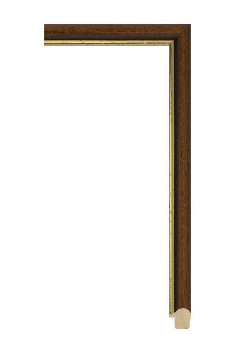 Houten lijst - BOSTON - Bruin met goud 20 mm breed