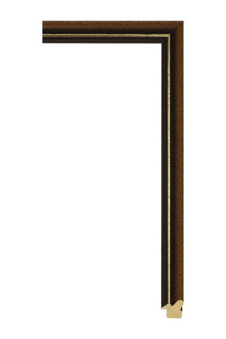 Houten lijst - BOSTON - Bruin met goud 21 mm breed